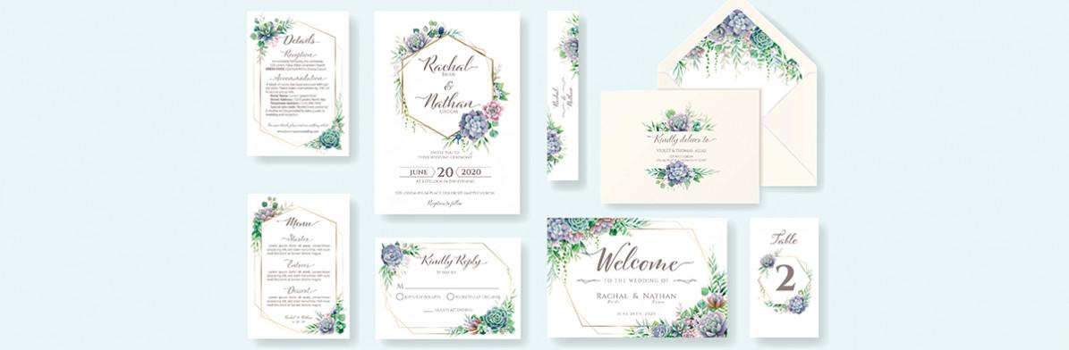 Set svadobných oznámení a tlačovín s kvetinovým motívom