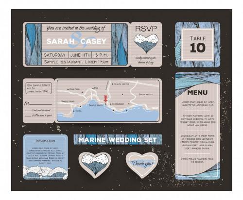 Netradičný set svadobných oznámení a tlačovín s morskou témou