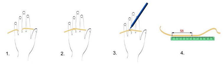 6ad3b285ef403 Ďalšou metódou určenia veľkosti prsteňa je podľa odmerania priemeru svojho  prsteňa, alebo odmeraním priemeru obkresleného jeho obrysu viď. obrázok.