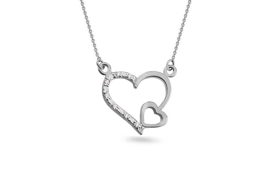 180ee3714 Briliantový náhrdelník z bieleho zlata 0.030 ct Srdce, pre ženy ...
