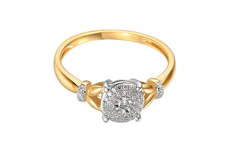 9de7161cf Briliantový prsteň z kombinovaného zlata 0.130 ct, pre ženy (IZBR717 ...