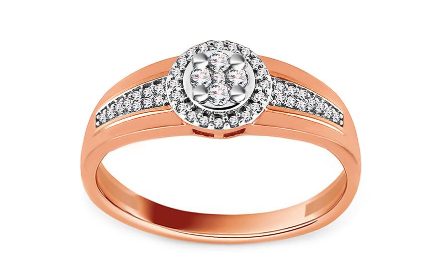 feeede9a4 Briliantový prsteň z ružového a bieleho zlata 0.140 ct, pre ženy ...