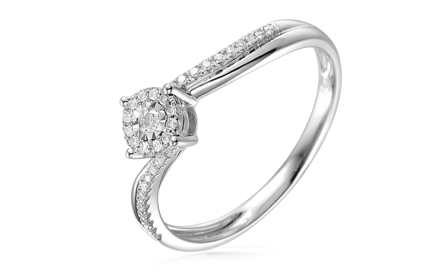 36e6215c8ad Briliantový zásnubný prsteň 0.130 ct z bieleho zlata, pre ženy ...