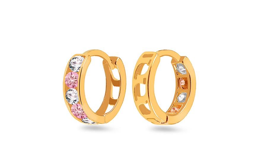 b7bfcf813 Zlaté dievčenské náušnice krúžky s ružovými kamienkami, pre deti ...