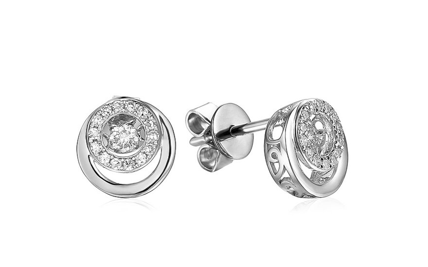 Diamantové náušnice z bieleho zlata 0.170 ct Dancing Diamonds a03164b373a