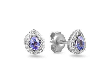 Náušnice z bieleho zlata s tanzanitom a diamantmi 0.020 ct Mayte 2 ... 71a61a67830