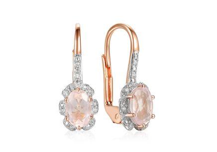 Náušnice z ružového zlata s ružovými quartzitmi a diamantmi 0.040 ct Chenoa  ... 9366a24fd26