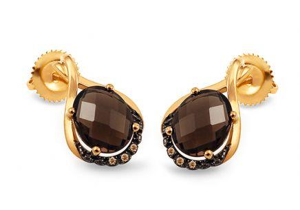 c7908680b Zlaté náušnice s dymovým quartzitom a champagne diamantmi 0.020 ct Anya 2  ...