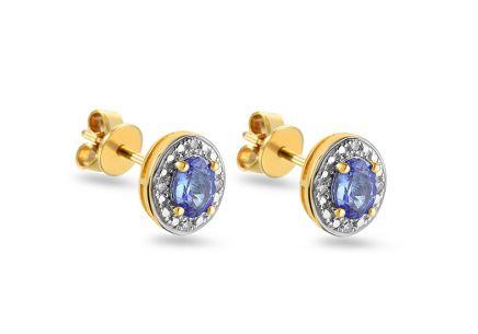 Zlaté náušnice s tanzanitom a diamantmi Fanny yellow ... 907efd53bf4