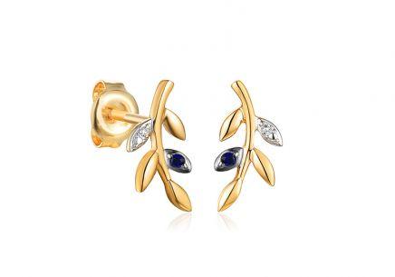Zlaté zafírové náušnice s diamantmi 0.010 ct Lístky ... acc58bf0c8e