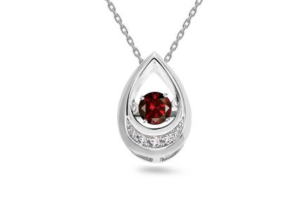 Prívesok s rubínom a briliantmi 0.040 ct Dancing Ruby white