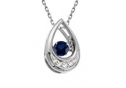 Prívesok so zafírom a briliantmi 0.040 ct Dancing Sapphire white