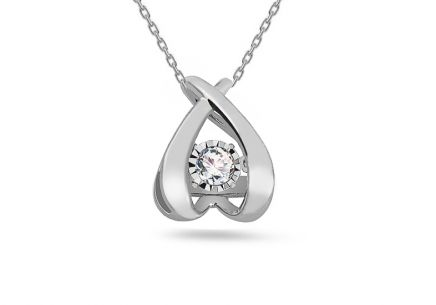 Prívesok z bieleho zlata s diamantom 0.090 ct Dancing Diamonds