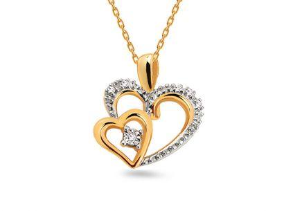 5815ce2b0 Zlatý prívesok dvojfarebný s diamantmi 0.030 ct srdcia ...