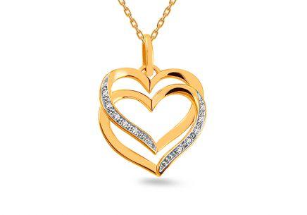 Zlatý prívesok s diamantmi 0.040 ct Dvojité srdce ... 181c030d832