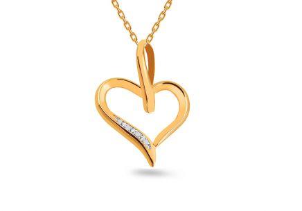 101338f99 Zlatý prívesok s diamantmi srdiečko ...