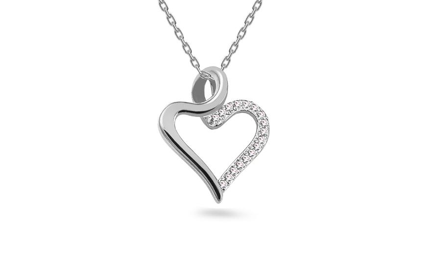 f97b96b7d Diamantový prívesok z bieleho zlata 0.040 ct Srdiečko, pre ženy ...