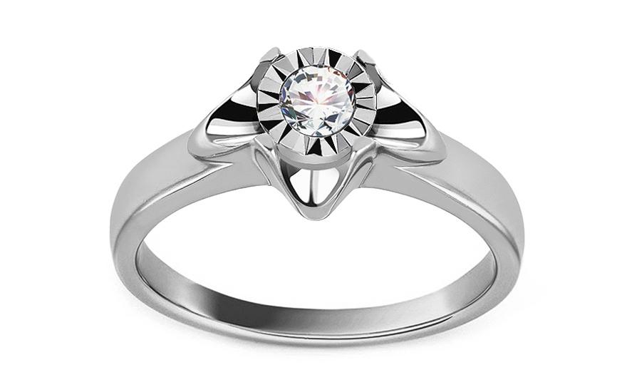 Diamantový zásnubný prsteň z bieleho zlata 0.150 ct 27b74560ed1