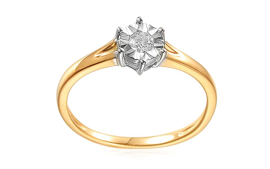 Diamantový zásnubný prsteň z kombinovaného zlata 0.080 ct e2432fda919