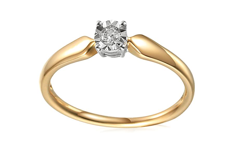 4d04c9464 Diamantový zásnubný prsteň z kombinovaného zlata 0.100 ct, pre ženy ...