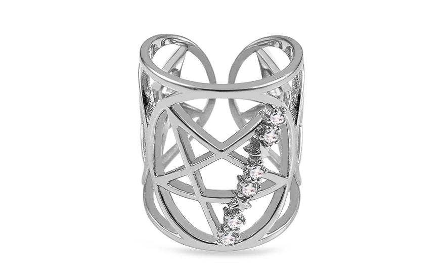 6c16986b3 Dizajnový strieborný prsteň so zirkónmi Dávidova hviezda, pre ženy ...