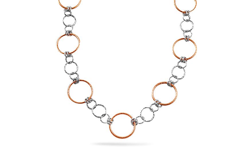 8a3d2f4b2 Dlhý strieborný náhrdelník s ružovým pozlátením, pre ženy (OZC298 ...