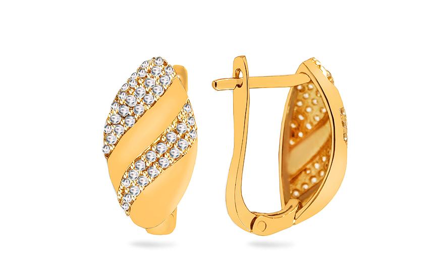 0d422758de79 Elegantné zlaté náušnice so zirkónmi - IZ17217