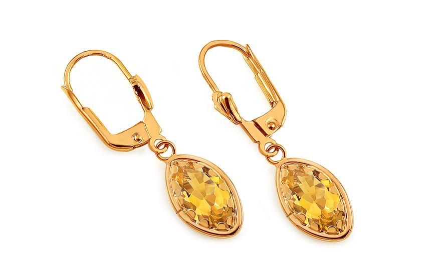 598cc52c4c63 Elegantné zlaté náušnice so žltými kameňmi - IZ16463Z