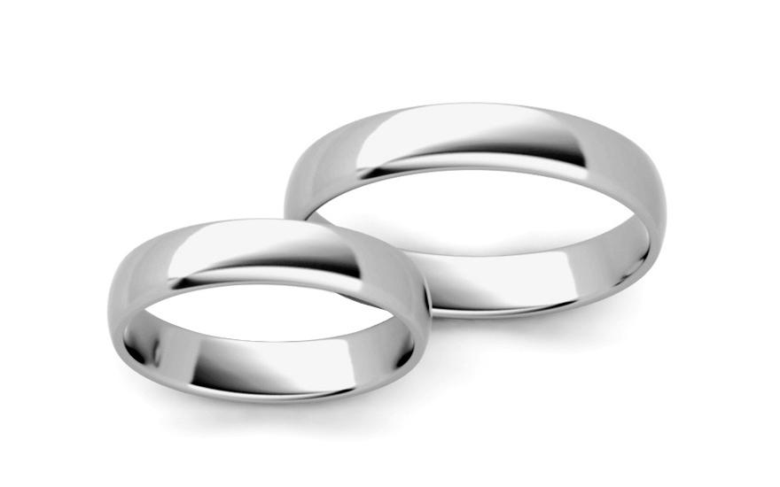 Klasické biele svadobné obrúčky 4 mm (STOB10003-4A)  5a0bed7f678