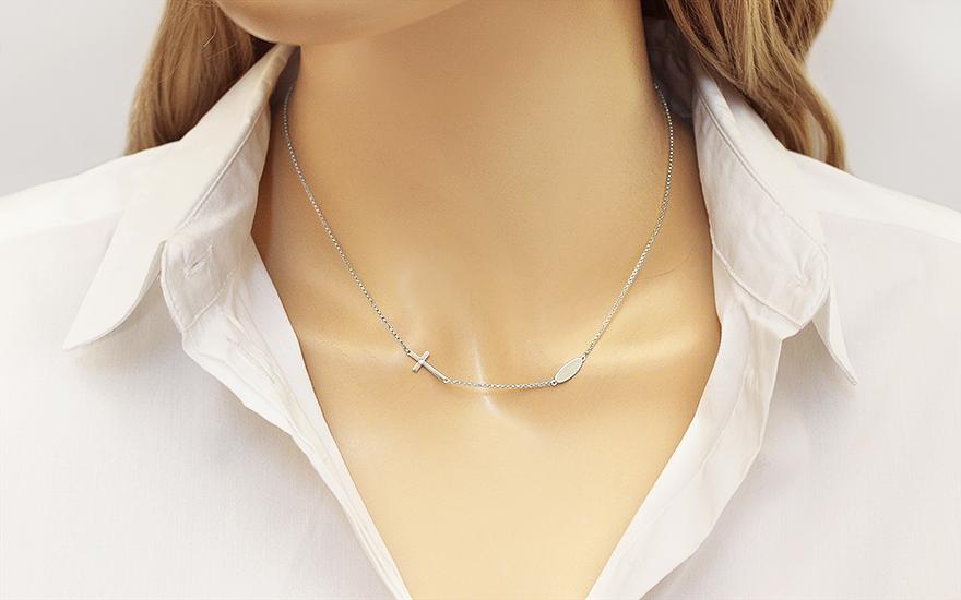 890b7ac49 Náhrdelník z bieleho zlata s krížikom a diamantom 0.010 ct, pre ženy ...