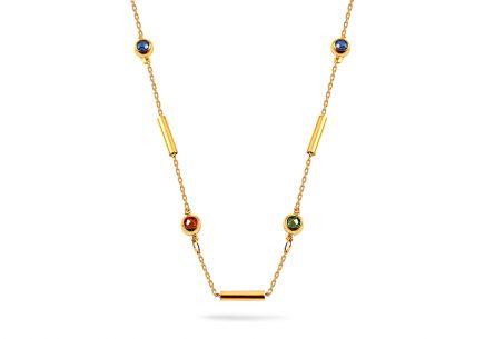 2ecf2f9b9 Hravý zlatý náhrdelník s valčekmi a farebnými zirkónmi ...