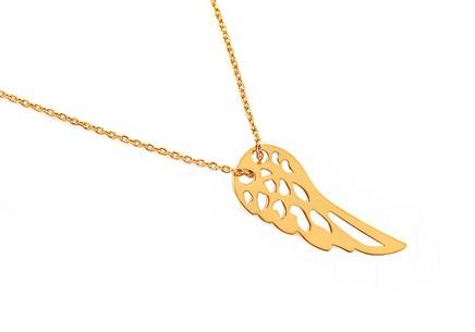 848443910 Pozlátený strieborný náhrdelník s krídlom ...