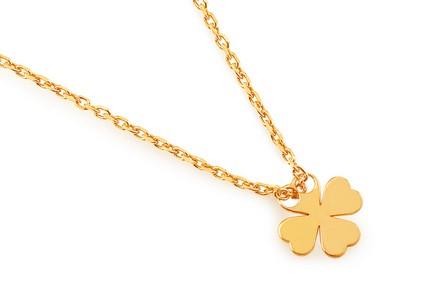 Pozlátený strieborný náhrdelník so štvorlístkom ... 7f528f72d78