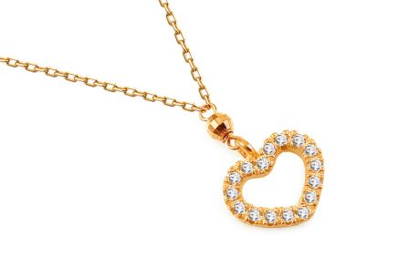 Pozlátený strieborný náhrdelník so zirkónmi Srdiečko ... 3d160fef991