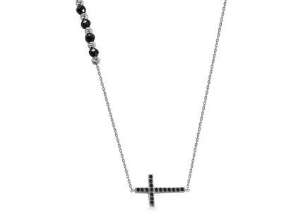 fc254fdbd Náhrdelník z bieleho zlata s krížikom a čiernymi zirkónmi ...