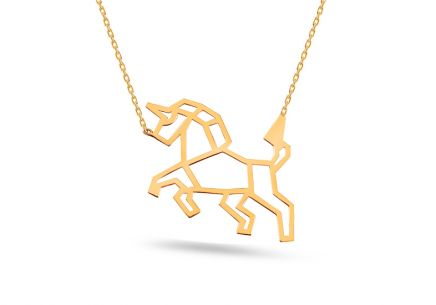 5db70bc58 Zlatý náhrdelník Origami jednorožec ...