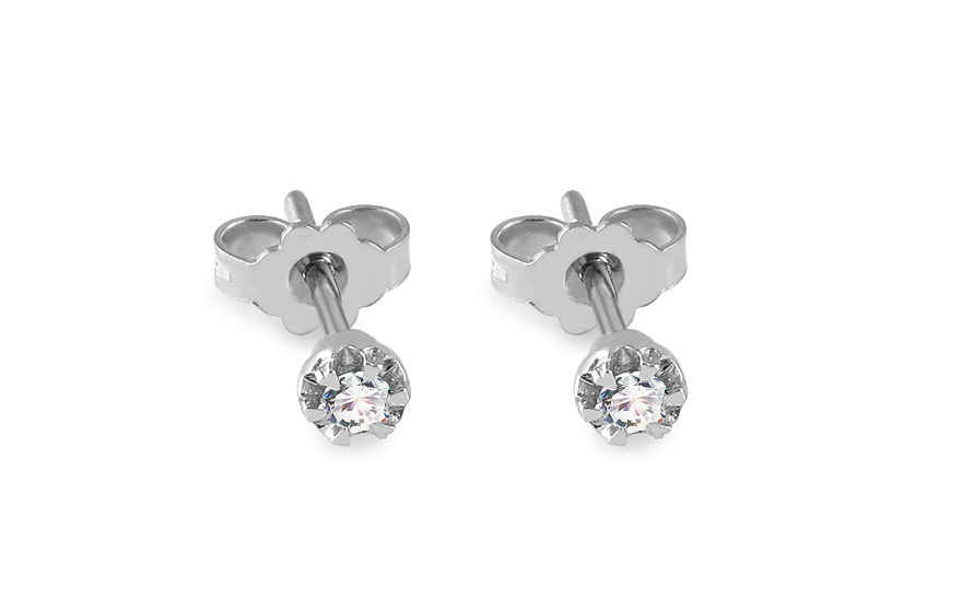 Napichovacie diamantové náušnice z bieleho zlata 0.100 ct d7c539c131b