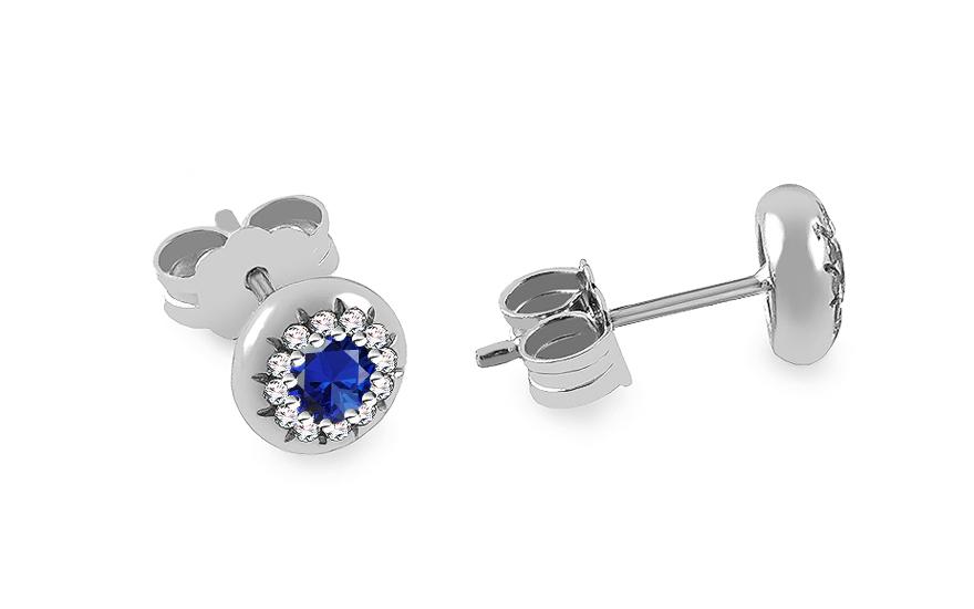 0e9a07585 Napichovacie náušnice z bieleho zlata s modrými a čírymi zirkónmi -  IZ15995ANM