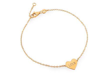 Nádherný zlatý náramok so srdiečkom LOVE ... e9346f0e34d