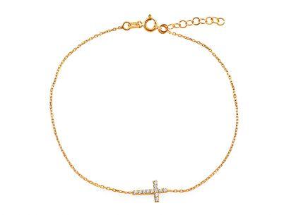 f30353451 Zlatý náramok s krížikom a zirkónmi ...