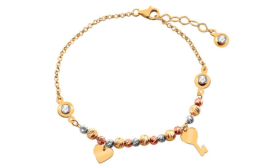 fb2e50aa7 Náramok z kombinovaného zlata s príveskami a zirkónmi, pre ženy ...