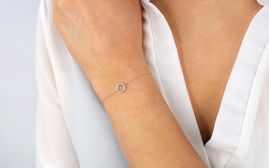 63f62e565 Náramok zo žltého zlata s diamantovým krúžkom, pre ženy (IZBR329N ...