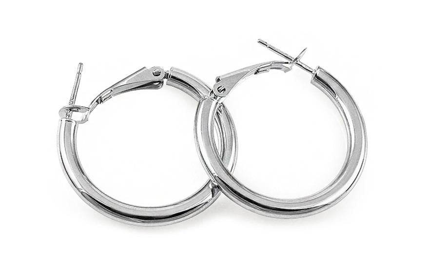 beea90402 Náušnice kruhy z bieleho zlata hladké 3,2 cm, pre ženy (IZ11736A ...
