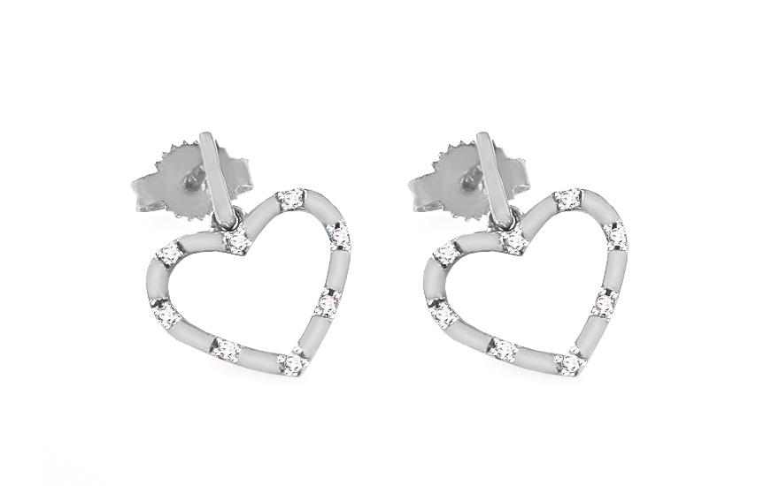 1bd0de446 Náušnice s bieleho zlata s diamantmi 0.040 ct Srdiečka, pre ženy ...