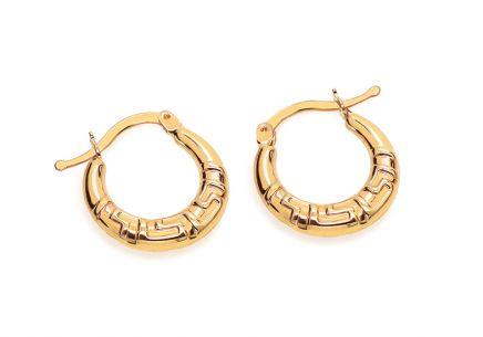 Zlaté náušnice krúžky s antickým vzorom ... 8daef940c2a