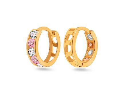 6f441ef2a Zlaté dievčenské náušnice krúžky s ružovými kamienkami ...