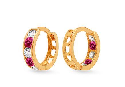 Zlaté dievčenské náušnice krúžky s tmavoružovými kamienkami ... 9e1be13e175