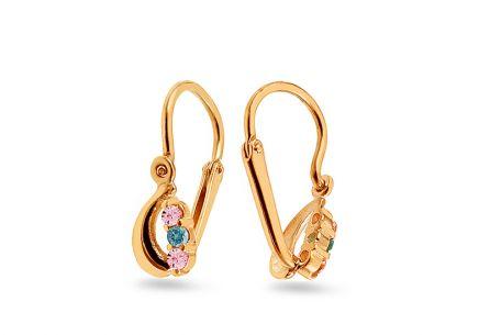 Zlaté náušnice pre deti s kamienkami ... 50410367eed