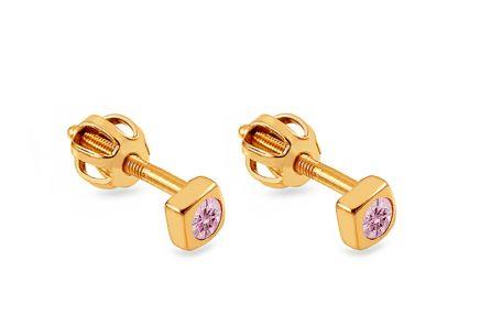 Zlaté náušnice pre dievčatko s ružovým kamienkom ... 51b074f8327