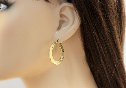 ... Zlaté náušnice kruhy s antickým vzorom 3 cm 565192656eb